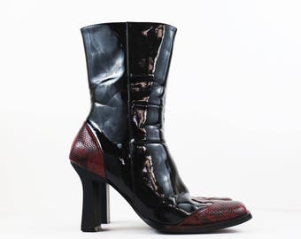 Vintage Black Patent Leather Avant Garde Western Style Boots size US Womens 6