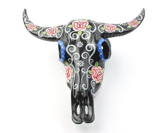 Black Bull Skull Decor, Hand Painted Skull, Rose Skull, Mexican Sugar Skull, Western Home Decor, Day of the Dead, Decorative Skull