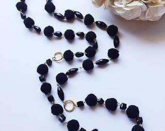 Black pom pom & bead long necklace / Gift / Birthday gift