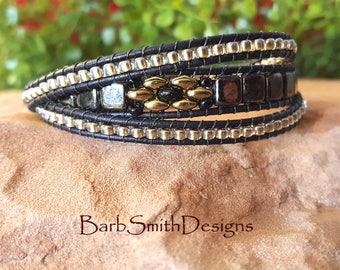 "Gold Black Bracelet-Leather 3-Wrap Bracelet-Beaded Triple Wrap-Magnet Clasp Bracelet-Size 6 7/8""-Custom Size-3 Wrap Skinny One-Smoky Gold"