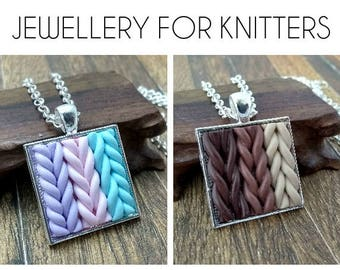 knitters jewelry - knitted necklace - faux knit texture necklace - pastels or browns - gift for knitter