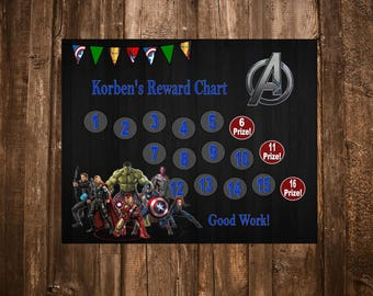 Avengers Superhero Themed Reward Chart - Digital PDF Files - Also Available Spider Man, Batman, Mickey Mouse, Shrek, Toy Story, & More!
