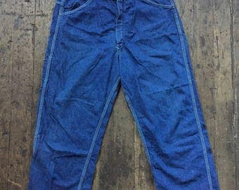 vintage 1950s dark denim Cherokee brand carpenter pants