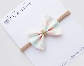 Pastel Waters hair bow, pastel hair bow, baby bow headband, bow headband,  faux leather hair bow, hair bows for babies, beach hair bow