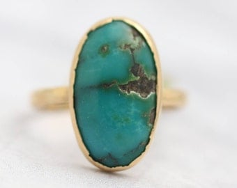 Antique Natural Turquoise Solitaire Ring- 18k Yellow Gold