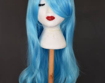 Blue Wavy Wig | Blue Wig | Baby Blue Wig | Pastel wig | Light Blue Wig | Long Wig with high quality synthetic hair