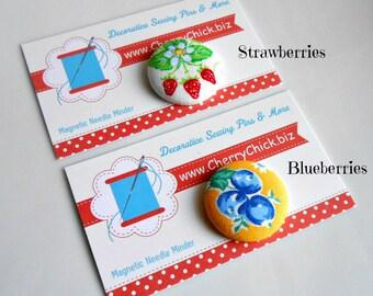 Strawberries Needle Minder - Blueberry Magnetic Needle Minder - Fruit Needle Magnet - Gift for Quilter - Needle Keeper - ECS - Strawwberries