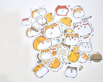 Cute Hamster Cut Out Planner Stickers, Scrapbooking Stickers, Die Cut Stickers, Cute Stationery, Korean Stationery - STK025