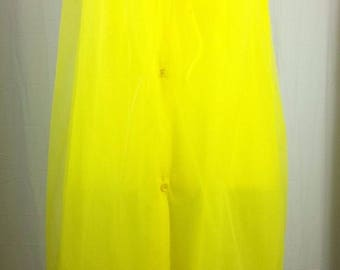 Vintage size Medium Button Front Short Sleeve Nightgown Robe Sheer Yellow Chiffon with Lace Sleeve Detail