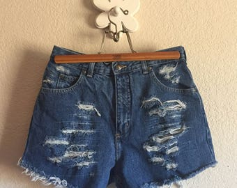 Women's Size 8 - Upcycled  Classic Wash Distressed Denim Cut-offs - High-Rise ~ Land's End