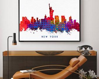 New York Skyline Art, New York Print, New York City Wall Art Decor, Home Decor, Skyline Glicee Poster (N113)