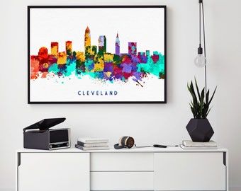 Cleveland Skyline Print, Cleveland Painting, Cleveland Art, Cleveland Wall Decor, Watercolor Cleveland, Ohio Art, Bedroom Decor (N175)