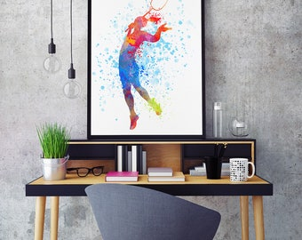Badminton Print, Badminton Player, Badminton Girl, Badminton Gift, Watercolour Prints, Sports Decor, Badminton Wall (N069)