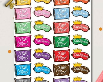 Nap Kween Planner Stickers | Napping stickers | Nap stickers | Pillow Stickers | Sleep In