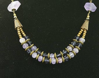 Choker double row, Crystal and Amethyst, antique bronze brass
