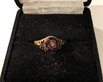 Raw garnet antique bronze ring