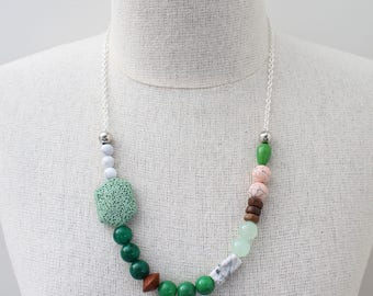 Green Gemstone necklace Quirky Necklace Asymmetrical Necklace Green Forest necklace Pantone necklace Green Earthy necklace - Green with Envy