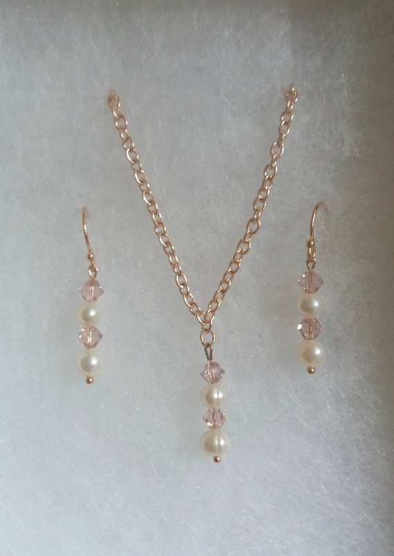 Rose Gold Blush Pearl and Crystal Jewellery Set
