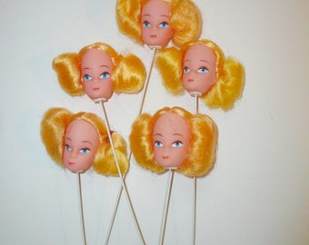Vintage Doll Head on Wire Barbie Head Blonde Hair Pigtails Detash Toy Part