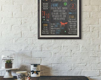 Poster custom birthday baby/child - slate