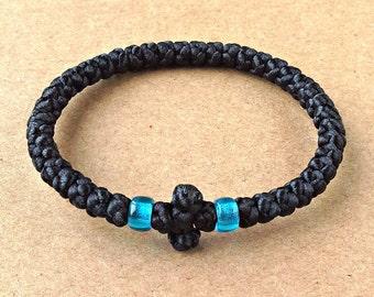 Orthodox Bracelet, Greek Handmade Komboskini, 40 Knots Prayer Rope, Black Satin Cord, Chotki, Komposkini with Black Cross, Gift For Friend