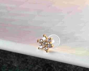 Golden CZ Flower Tragus, Helix Cartilage Earring.  BioFlex Tragus Earring. 16 gauge.