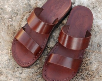 brown leather sandals, brown sandals, leather slippers, Jesus sandals, women sandals, men sandals, Jerusalem sandals, handmade sandals