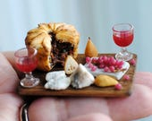 Miniature Standing Crust Pie with Wine, Cheese and Fruit - Dollhouse food