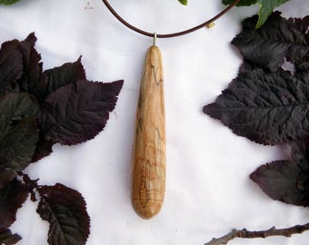 Spalted birch wood drop pendant necklace