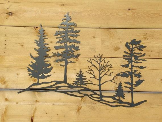 Wall Decoration Tree Painting: Metal Tree Hillside Metal Wall Art Trees Metal Trees Metal