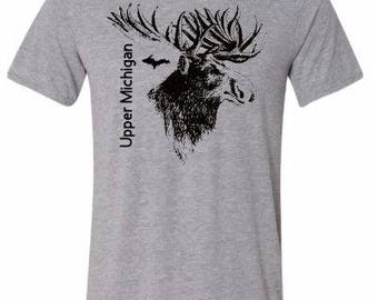 michigan moose shirt, white , moose shirt, tshirt