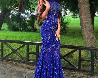 Stunning Royal Blue Lace Prom / Evening Dress - Beaded Crystal with Open Back