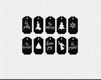 christmas gift tags labels svg dxf jpeg png file stencil monogram frame silhouette cameo cricut clip art commercial use