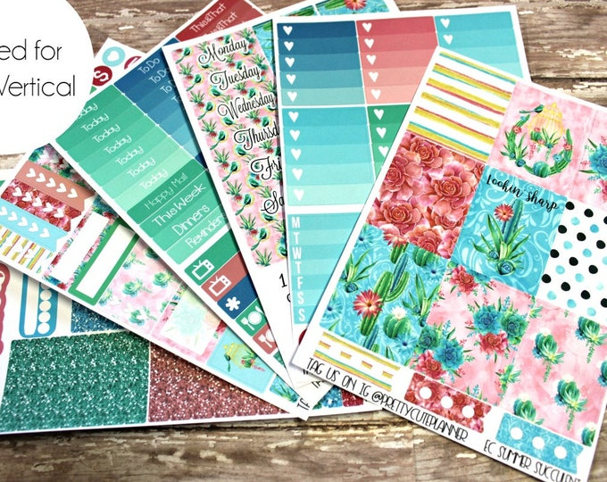 Planner Stickers - Fits Erin Condren Vertical - Tropical Summer Planner Stickers - Ala Carte Weekly Sticker Kit - Summer Succulent stickers