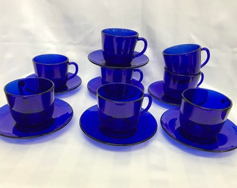 Vintage Cobalt Blue Glass Espresso 8 cups and 7 saucers