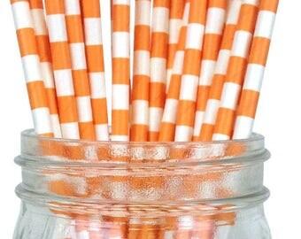 Orange Rugby Striped Paper Straws, Party Supplies, Party Decor, Bar Cart Cake Pop Sticks, Party Graduation