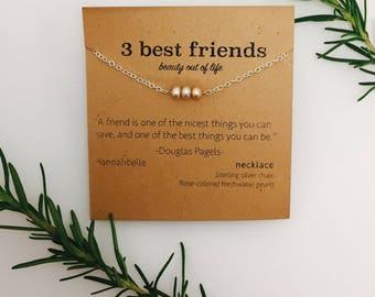 Sterling Silver, Three Best Friends, Gold Pearls, Pearls, Necklace, Cute Christmas Gift, Birthday Gift, Cute Birthday gift