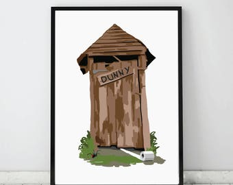 Outhouse art print, Australia outdoor dunny, Toilet print, Humor print, Bathroom art print, instant download