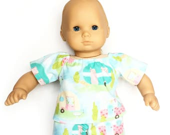 Baby Pajama Top, Camping Trip, Turquoise, Pink, Yellow, Bitty Baby, Bitty Twin, 15 inch Doll Clothes