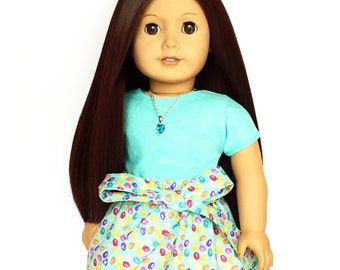 Flare Skirt, Sash Easter Egg, Blue, Purple, Pink, Fits dolls such as American Girl, 18 inch Doll Clothes, Mix and Match