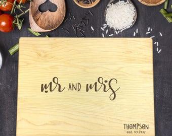 Personalized Cutting Board, Engraved Cutting Board, Custom Cutting Board, Wedding Gift, Housewarming Gift, Christmas Gift, Mr, Mrs, B-0053