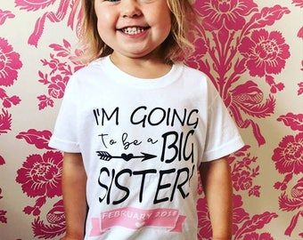 Child Personalised T-Shirt Top, Due Date, Reveal, New Baby, Sibling Announcement, Sister, brother, Kid Clothing, Baby Gift, Child Gift