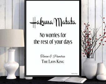 The Lion King, Hakuna Matata, Disney quote, Disney print, Children poster, Girl or boy room wall decor, Kids decor, Nursery print, Gift idea