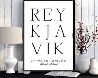 Reykjavik poster, Iceland print, Wall art decor, Reykjavik city print, Office wall decor, City poster, Reykjavik printable, Typography print