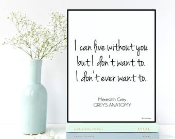 Girlfriend Christmas gift, Boyfriend Christmas gift, Grey's Anatomy poster, Grey's Anatomy quote, Love poster, Love quote, Christmas gift
