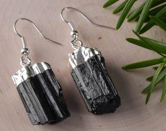 Raw BLACK TOURMALINE Crystal Earrings - Tourmaline Earrings, Black Tourmaline Jewelry, Black Tourmaline Stone, Black Tourmaline Rough E0470