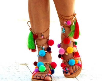 "Pom Pom Sandals, Leather Sandals, Gladiator sandals, Greek Sandals, \""Armonia\"" Colorful Sandals, beaded sandals, boho"
