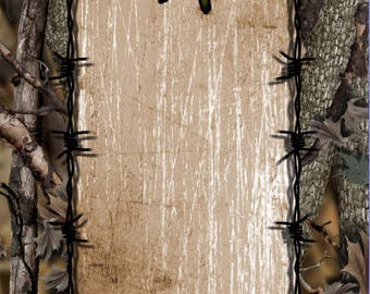 Camo Wicked Barbwire LAMINATED Cornhole Wrap Bag Toss Decal Baggo Skin Sticker Wraps