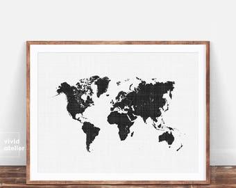 World Map Wall Art Print, Modern Minimalist Black and White Printable World Map Poster, Scandinavian Print, World Map, Affiche Scandinave