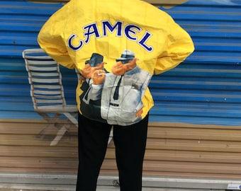 SOLD OUT! Do not purchase! 1992 Joe Camel Cigarettes Tyvek Windbreaker Front Zip Jacket Vintage Cigs Novelty XL